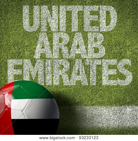 Soccer field with the text: United Arab Emirates