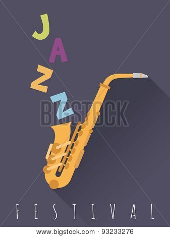 Jazz Festival Poster Vector Illustration . Poster for Jazz Festival with Flat Design Saxophone Vector Illustration.
