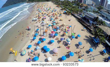 Aerial view of a famous beach in Rio de Janeiro, Brazil