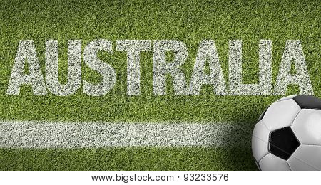Soccer field with the text: Australia