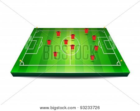 Soccer or football field with players