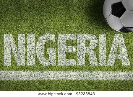 Soccer field with the text: Nigeria