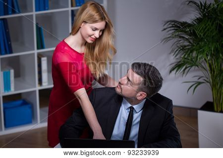 Co-workers Flirting In Office
