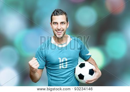 Uruguayan fan celebrates on bokeh background
