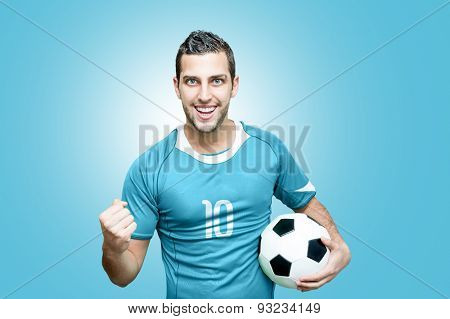 Uruguayan fan celebrates on blue background