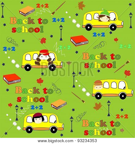 Cute school cartoon seamless pattern. Back to school illustration.