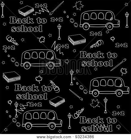 Cute school cartoon seamless pattern. Back to school illustration. black