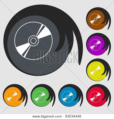 Cd, Dvd, Compact Disk, Blue Ray Icon Sign. Symbol On Eight Colored Buttons. Vector