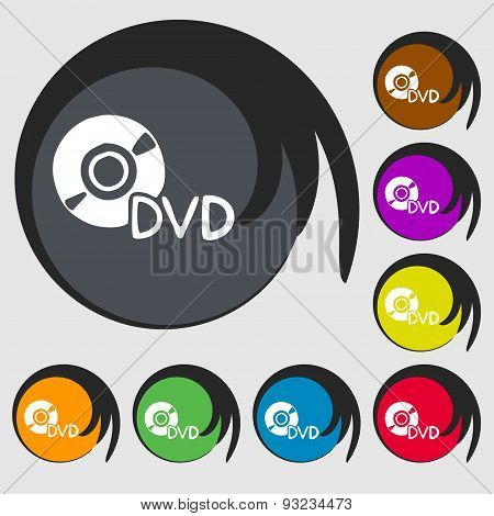 Dvd Icon Sign. Symbol On Eight Colored Buttons. Vector