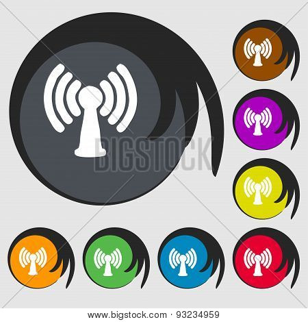 Wi-fi, Internet Icon Sign. Symbol On Eight Colored Buttons. Vector