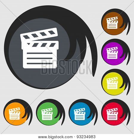 Cinema Clapper Icon Sign. Symbol On Eight Colored Buttons. Vector