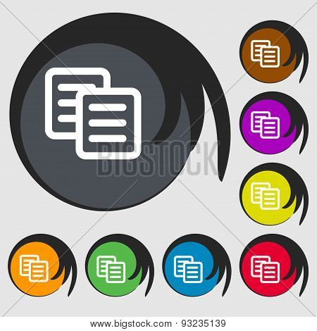 Copy Icon Sign. Symbol On Eight Colored Buttons. Vector