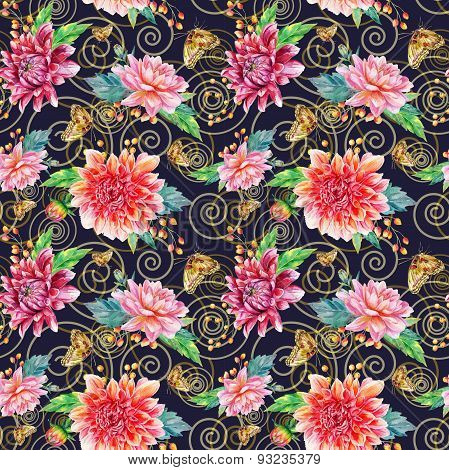 Vector Seamless Pattern With Red Dahlia.