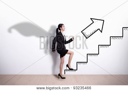 Superhero Business Woman With Stair