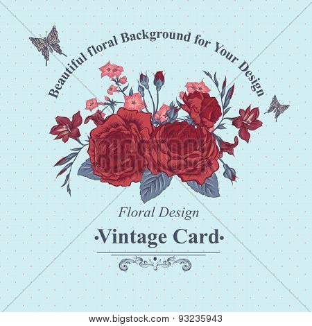 Beautiful Victorian Roses in Vintage Style for Invitation Card