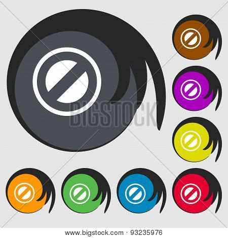 Cancel Icon Sign. Symbol On Eight Colored Buttons. Vector