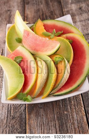 watermelon,green and cantaloupe melon