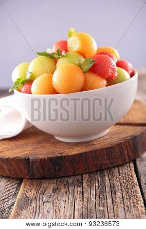 fruit salad with watermelon and melon ball