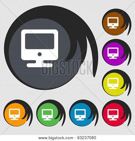 Monitor Icon Sign. Symbol On Eight Colored Buttons. Vector