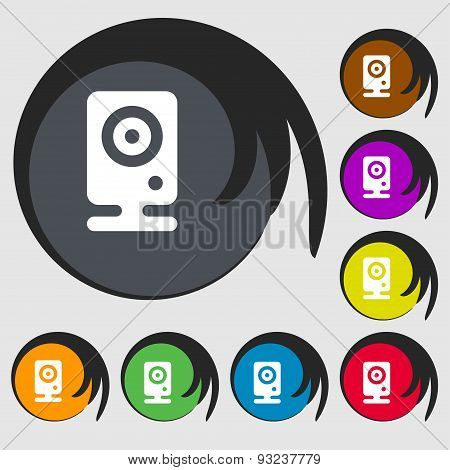 Web Cam Icon Sign. Symbol On Eight Colored Buttons. Vector
