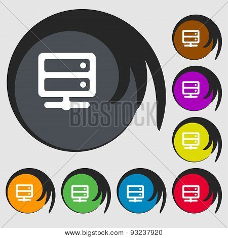 Server Icon Sign. Symbol On Eight Colored Buttons. Vector