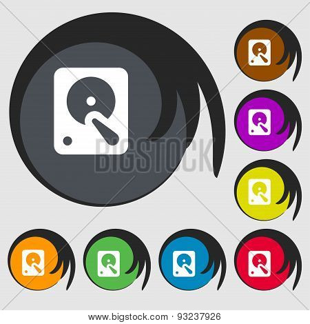 Hard Disk Icon Sign. Symbol On Eight Colored Buttons. Vector