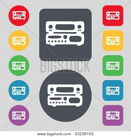 Radio, Receiver, Amplifier Icon Sign. A Set Of 12 Colored Buttons. Flat Design. Vector
