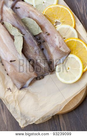 Fresh squid carcass with spices