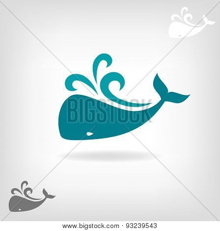 Vector image of a big whale.