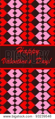 Greeting banner with embroidery for Valentines Day