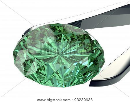 Gem Stone In Tweezers Isolated On A White Background