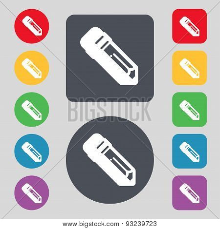 Pencil Icon Sign. A Set Of 12 Colored Buttons. Flat Design. Vector