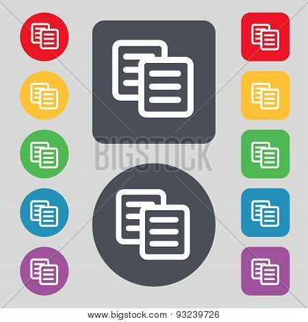Copy Icon Sign. A Set Of 12 Colored Buttons. Flat Design. Vector