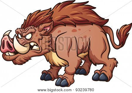 Cartoon wild boar. Vector clip art illustration with simple gradients. All in a single layer.