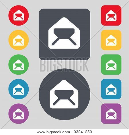 Mail, Envelope, Letter Icon Sign. A Set Of 12 Colored Buttons. Flat Design. Vector