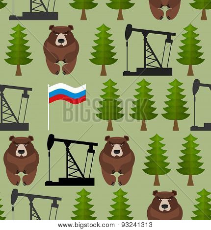 Russian seamless pattern. Bears and forest. Oil rig and a Russian flag. Patriotic background. Vector