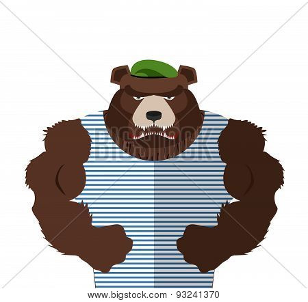 Angry bear in striped vest. Russian bear defender in a green beret with large muscles. Vector illust