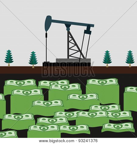 Oil rig shakes her money. Vector illustration