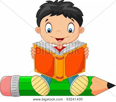 Cartoon little boy reading a book