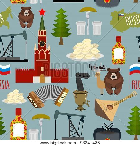 Russia sightseeing seamless pattern. The Moscow Kremlin and the Samovar, oil pump and squeeze. Ushan