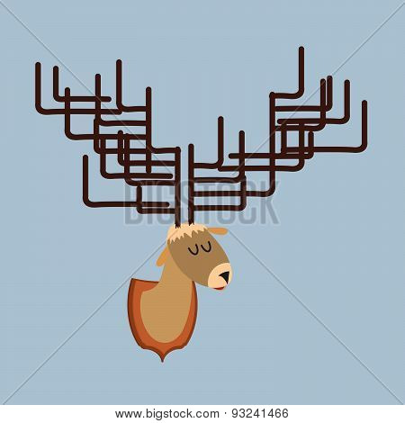 Deer head of   with large antlers. Hunting trophy. Vector illustration