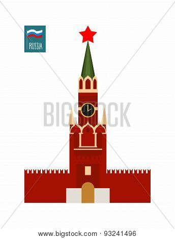 Tower of  Moscow Kremlin. Sight Of Russia. Vector illustration