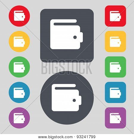 Purse Icon Sign. A Set Of 12 Colored Buttons. Flat Design. Vector