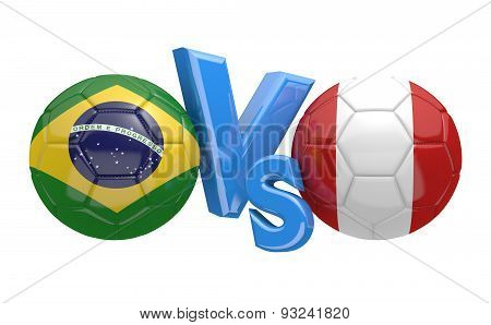 Football competition, national teams Brazil vs Peru