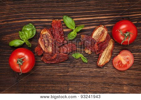 Dry And Fresh Tomatoes.
