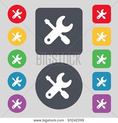 Screwdriver, Key, Settings Icon Sign. A Set Of 12 Colored Buttons. Flat Design. Vector