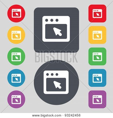 The Dialog Box Icon Sign. A Set Of 12 Colored Buttons. Flat Design. Vector
