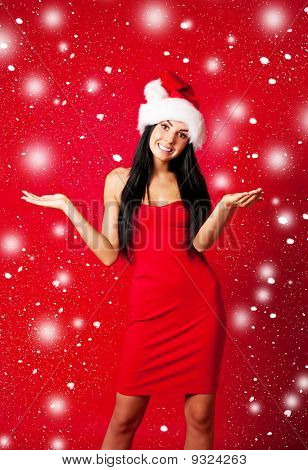 Girl Dressed As Santa