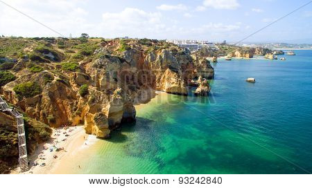 Aerial from natural rocks near Lagos in Portugal