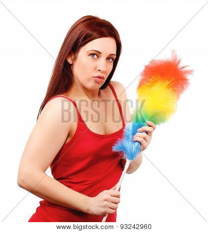 Sexy Woman In Red Shirt With Whisk For House Dust